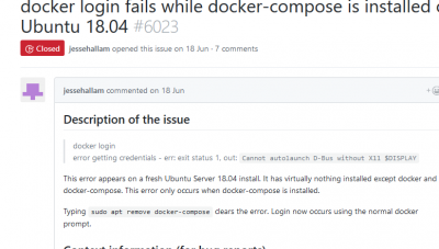 Screenshot_2018-08-11 docker login fails while docker-compose is installed on Ubuntu 18 04 · Issue #6023 · docker compose