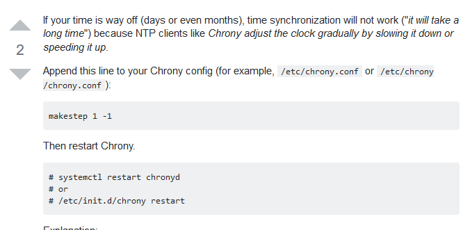 Screenshot_2019-04-15 Chrony time synchronization on huge time diff